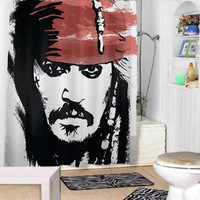 Jack Sparrow Johnny Depp Pirate of the caribbean shower curtains adorabel bathroom and heppy shower.