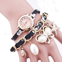 Women's Starfish Watches with Leather Wrap Bracelet Quartz Wrist