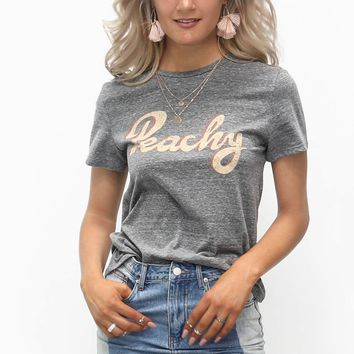 Peachy Graphic Heather Gray Top