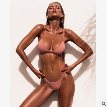 New women split solid color swimsuit sexy bikini Pink