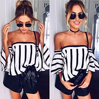 Fashion Stripe Print Sexy Off Shoulder Middle Sleeve Pagoda Sleeve Women's T-shirt Tops