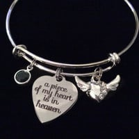 Memorial A Piece of My Heart is in Heaven Expandable Charm Bracelet Adjustable Wire Bangle Silver Angel Wings