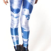 Universe Blue Sky Cloud Print Leggings