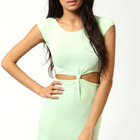 Kelly Cut Out Side Cap Sleeve Knot Bodycon Dress