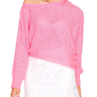 Colorless Knit Crop Top - Neon Pink