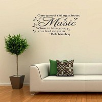 Bob Marley Music Makes You Feel No Pain Party vinyl wall quote for home living room wall pictures