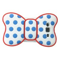 FiMeney Cute 3D Bowknot Blue Dot Red Outline Soft Skin Case Cover for Samsung I9300 Galaxy S3