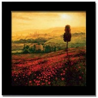 Poppies Field Tuscany Italian Framed Print Art Picture