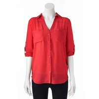 Candie's Chiffon Button-Front Top - Juniors