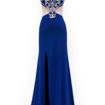 KC131511 Blue Mock 2 Piece Prom Dress by Kari Chang Couture