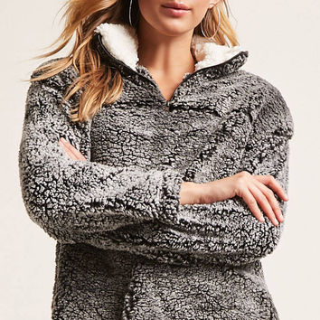Marled Faux Shearling Pullover Sweater