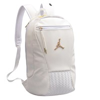 Jordan hot seller of fashionable men's and women's casual color patchwork backpack White