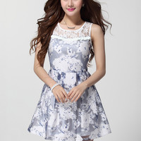 Floral Print Lace Sleeveless Shirtwaist Mini Skater Dress