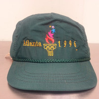 Vintage 90's Nylon Atlanta 1996 Olympics Leather Strapback Dad Hat Sportswear Tennis Golf Cap Green Hipster Style Retro