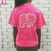 Womens Tops Elephant Rose Red Ribbon Short Sleeved Tees Tshirt