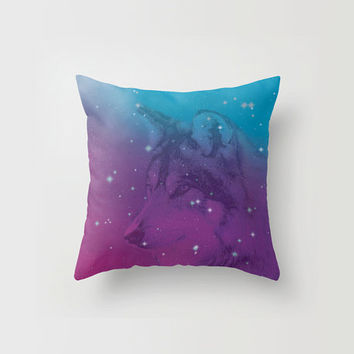 Throw Pillow Decorative Pillow Case Galaxy Wolf Stars Space Hipster Purple Pink Blue Made to Order Photo Pillow 16x16 18x18 20x20 Home Decor