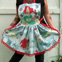 Ariel The Little Mermaid Retro Ruffle Apron Reconstructed