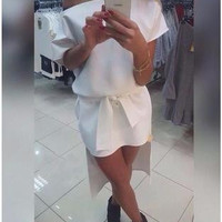 SIMPLE - Fashionable White Slim Fit One Piece Dress Romper a12063