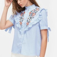 Tie Sleeve Striped Shirt Band Collar Frilled Blouse Cute Elegant Women Tops Embroidery Button Blouse