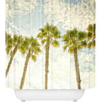 DENY Designs Palm Trees Shower Curtain - Cream/Tan