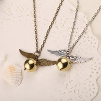 vintage harry potter snitch gold necklace