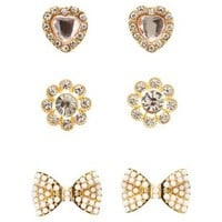 Bow & Heart Stud Earrings - 3 Pack by Charlotte Russe - Gold