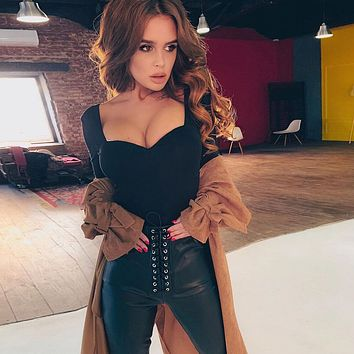 Women All-match Solid Color V-Neck Long Sleeve Bodysuit Bottoming Tops