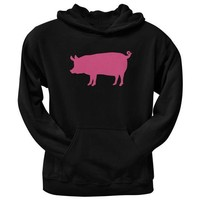 ICIKIS3 Pink Pig Silhouette Black Adult Pullover Hoodie