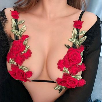 Stylish Sexy Women's Fashion Floral Embroidery Tops Fashion Underwear [10594459203]