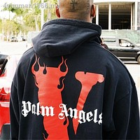 Hip Pop Hoodies﹊Vlone fleece kirin palm angel arm destroyed a large V men and women lovers with loose hip-hop hoodie