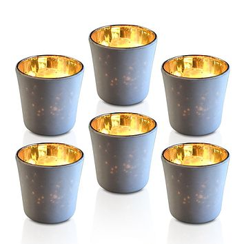 6 Pack | Vintage Mercury Glass Candle Holders (2.5-Inch, Lila Design, Liquid Motif, Antique White) - For Use with Tea Lights - For Parties, Weddings and Homes