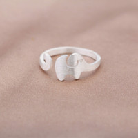 925 sterling silver tiny elephant opening ring , cute elephant ring, a perfect gift