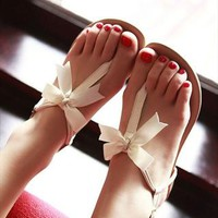 Cute Bowknot Leather Sandals from SarahHunt