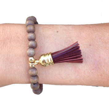 Wood Bead Bracelet with Brown Leather Tassel