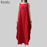 Casual Retro Solid Summer Dress 2016 Women Elegant Loose Sleeveless O Neck Dress Cotton Linen Long Maxi Dress Vestidos Plus Size