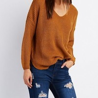 Shaker Stitch V-Neck Sweater
