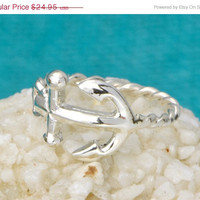 Christmas In July Anchor Ring - Sterling Silver Anchor - Sideways Anchor Ring - Nautical Jewelry - Horizontal Anchor Ring - Anchor Jewelry