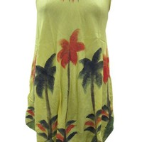 Yellow Batik Palm Tree Caftan Tank Dress Beach Coverups: Amazon.com: Clothing
