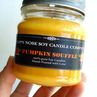 Scented soy candle, highly scented candle, Mason jar, Pumpkin Soufflé, 8oz, Fall candle, wooden wick, medium candle, Soy wax melts