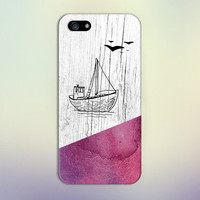 Pink Watercolor x Wooden Sailboat Phone Case for iPhone 6 6 Plus iPhone 5 5s 5c 4 4s Samsung Galaxy s6 s5 s4 & s3 and Note 5 4 3 2