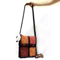 Knitted bag, Messenger bag, Free Shipping, Orange, Multicolor, Black Cable, Tablet bag, Square pattern, Ipad bag, Soft, Shoulder, Purse
