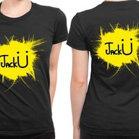 ONETOW Jack U Logo Brush Abstract 2 Sided Womens T Shirt