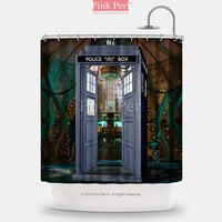 Doctor Who Police Box and Laboratory Shower Curtain Home & Living 230
