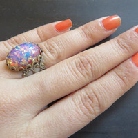 Pink Fire Opal Adjustable Ring Bronze Antique Filigree Glass Stone Finger Wrap Jewelry