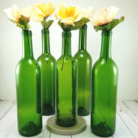 Green Bottle Vase Set of 6 - Wine Bottle Decor - Green Glass Vase - Empty Bottle - Customize - Table Top Decor - Green Glass - Wine Bottle -