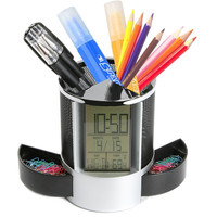 Black Digital LED Desk Alarm Clock Mesh Pen Pencil Holder Calendar Timer Temperature