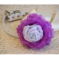 Purple and Lilac Floral Dog Collar, Purple, Lilac and Ivory wedding, Pet wedding accessories, Dog Lovers, Purple and Lilac Wedding , Wedding dog collar