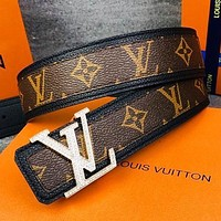 LV Fashion New Monogram Print Leather Women Men Belt