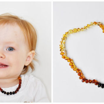 Amber beads Teething NECKLACE BABY handmade knotted