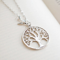 Tree Necklace,Tree of Life Necklace,Bird Jewelry,Leaf Lariat,Leaf Branch Pendant,Silver Tree Necklace,Nature,Bird Necklace,Tree Jewelry